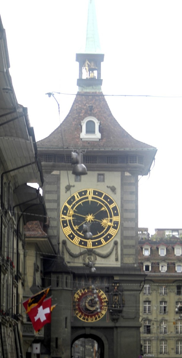 The clock tower Zeitglockenturm with its giant clock faces and the astrolabe.